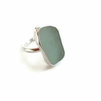 Turquoise Rectangle Sea Glass Sterling Silver Ring (Size L-M)