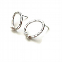 Hammered Oval and Unearthed Silver Stud Earrings