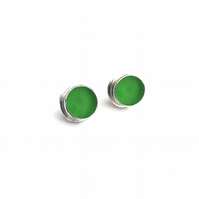 Bright Kelly Green Sea Glass Fine Silver and Sterling Silver Earrings