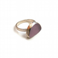 Beachcombers Sterling Silver Purple Sea Glass Ring Size L