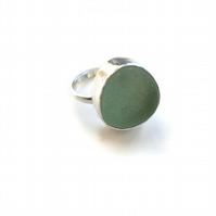 Sterling Silver Seafoam Sea Glass Ring Size M-N