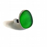 Adjustable Kelly Green Sea Glass Sterling Silver Ring