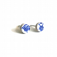 Tiny Willow Flower Pottery Shard Sterling Silver Stud Earrings