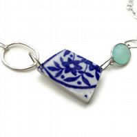 Deep Blue Daisy Flower Sea Pottery Shard Necklace - Sterling Silver