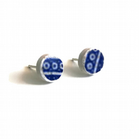 Willow Border Pottery Shard Sterling Silver Stud Earrings