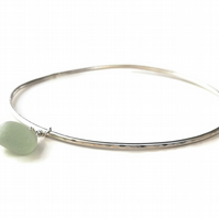 Beachcombing in Cadiz Aqua Sea Glass Sterling Silver Bangle