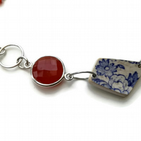 Flowers by Sunset Carnelian & Pottery Shard Sterling Silver Necklace