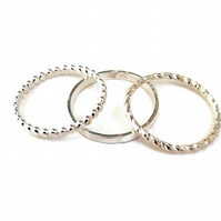 Bubble, Hammered, Twisted Sterling Silver Stacking Rings - Made to order