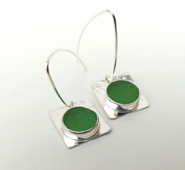Upcycled Green Sea Glass Sterling Silver Drop Earrings