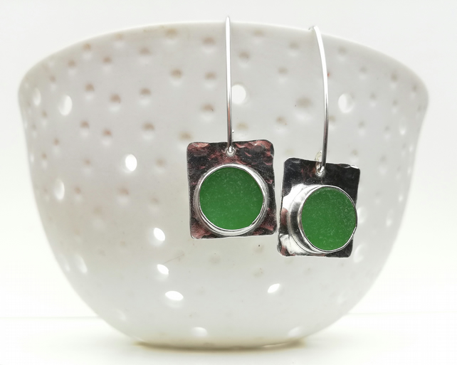 Spanish Sea Glass - Upcycled Green Fine Silver-Sterling Silver Drop Earrings