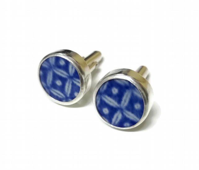 Something Blue Sterling Silver Willow Pottery Shard Cufflinks - Made to order