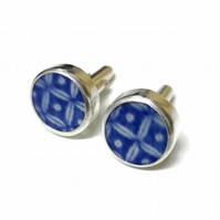 Sterling Silver Willow Pottery Shard Cufflinks - Made to order