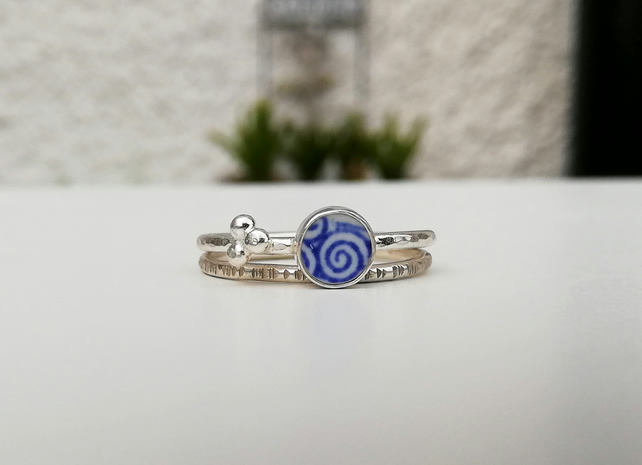 Spiral Spode Pottery Shard Sterling Silver Stacking Ring Set