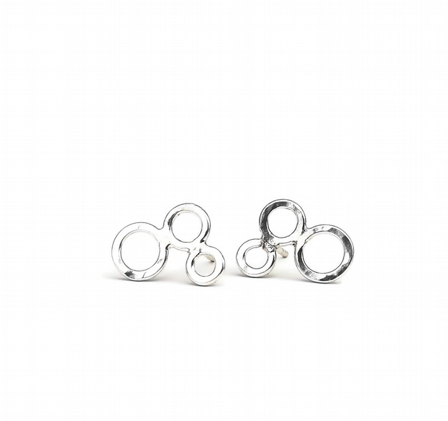 Circles of Connection Sterling Silver Stud Earrings Ear Climbers