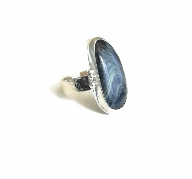Upcycled Industrial Shropshire Scoria Glass Sterling Silver Adjustable Ring