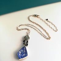 Floral Pottery Shard and Sterling Silver Labradorite Necklace