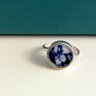 Upcycled Copeland Spode Hawthorne Pottery Shard Sterling Silver Ring-Adjustable