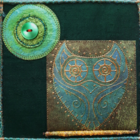 OHP408  - Owl Moon Wall Hanging - 15cm square