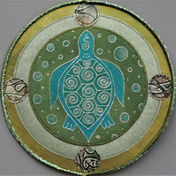 TMP002 - Turtle Moon Mandala - Olive Green - Turquoise - Silver