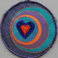 "LCM236 - Loveheart-Moon Crescent Mandala - Purple,turquoise,copper - 15cm (6"")"