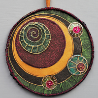"MM2304 - Moon Mandala Wallhanging - Green - plum - bronze - 15cm (6"") round"