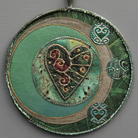 "MHM2312 - Moon Heart  Mandala - Green - plum -pewter - 15cm (6"") round"