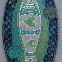 "FSP007 - Fish Shield Wallhanging - pewter - green - blue - 30cm (12"")"