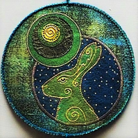 "HJP116  - Moon Gazer Hare Mandala -  Wall Hanging  - Green-Blue-Gold - 15cm (6"")"