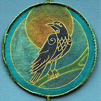 RPM001 - Raven That Stole the Sun Mandala - green-turquoise -15cm round