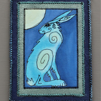 HHE1270 - Hare Moon Gazer Wall Hanging - 15cm x 20cm -  Blue
