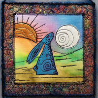 HHE1254 - Sunset Hare Moon Gazer - Square Wall Hanging -  20cm - Blue-Green