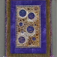 ABE001 -  Moon Abstract Embroidery Wall Hanging 12.5cm x 17.5cm
