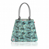 Wild Hare in Blue Oilcloth Tote Bag
