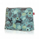 Wild Hare in Blue Oilcloth Washbag