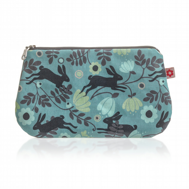 Wild Hare in Blue design Oilcloth Purse