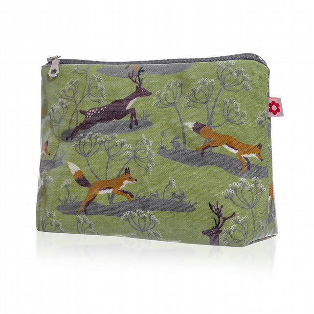 Fox & Deer design Oilcloth Washbag