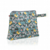 Blue Tit design Oilcloth Large Washbag