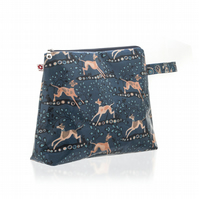Whippet design Oilcloth Large Washbag