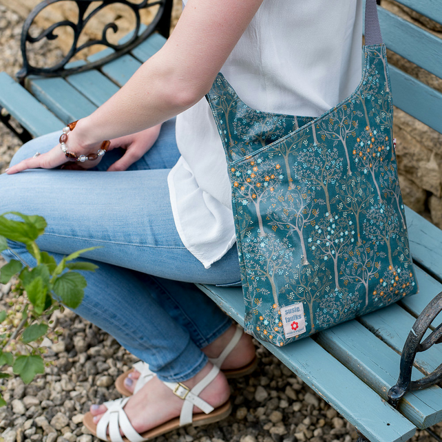 Bloom Teal Oilcloth Cross Body Bag