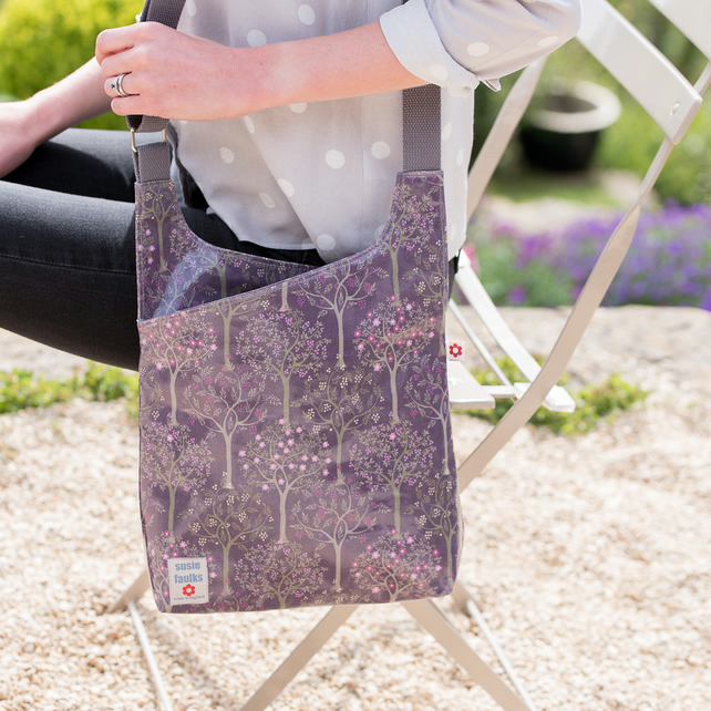 Bloom Purple Oilcloth Cross Body Bag