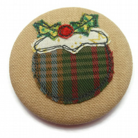 Christmas Pudding Badge - Applique Motif with Freemotion Embroidery