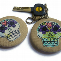 Sugar Skull Fabric Scribble Keyring & Pinback Badge Duo