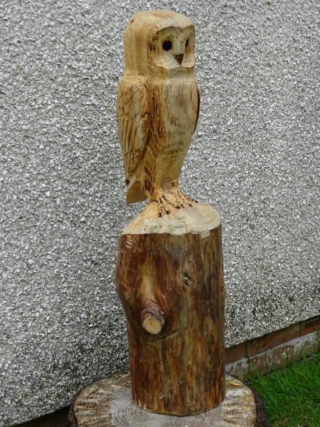 Chainsaw carving wood carving owl barn owl folksy