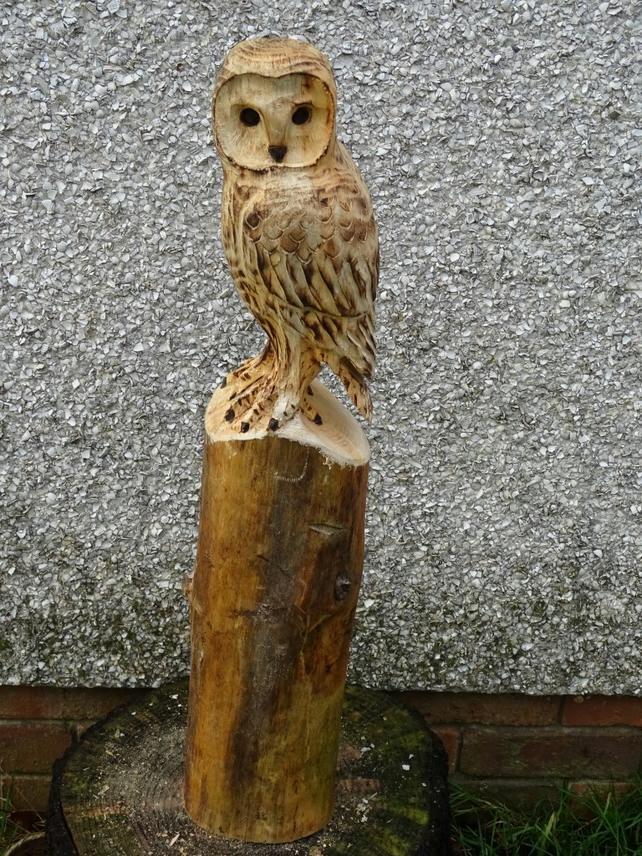 Chainsaw wood carving garden sculpture owl folksy