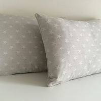 Dove Grey Stars Cushion Cover