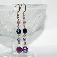 Boho Purple Czech Glass Beaded Dangle Earrings Antique Gold