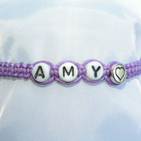 Personalised Purple Bracelet with Czech Glass Letter Beads & Silvery Heart
