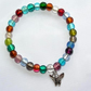 Multicoloured Indian Glass Bead & Butterfly Elasticated Bracelet