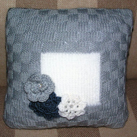 Hand Knitted & Swarovski Crystal Beaded Grey & Blue Cushion