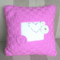 Hand Knitted & Beaded Pink & Cream Cushion